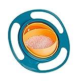 GuGio ポータブル360度回転ベビーキッズトレーニング 食事ボウル こぼれない ジャイロボウル 調理器具 ブルー