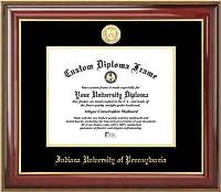 Indiana University of Pennsylvania Crimson Hawks–ゴールドMedallion–マホガニーゴールドトリム–卒業証書フレーム