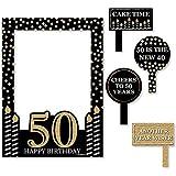Bigドットの幸せのAdult 50th Birthday – ゴールド – 誕生日パーティー写真ブース画像フレーム& Props – 頑丈な素材にプリント