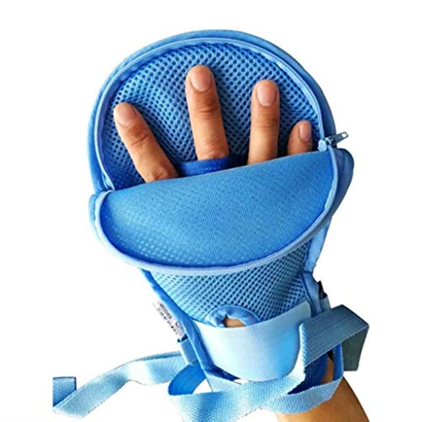 クリケット急ぐ医療用抗エクストラクショングローブアンチスクラッチ用手首固定された拘束具患者の手の感染症プロテクターパッド付き