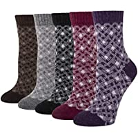 5 Pack Women's Soft Warm Thick Knit Wool Cozy Crew Socks Vintage Colorful Casual Fall Winter Socks