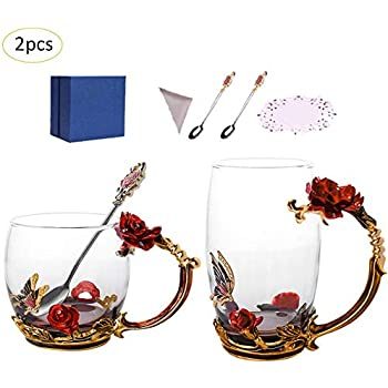 マグカップ 耐熱ガラス ティーカップ コーヒーグラスセット 食洗機対応 12オンス 2個セット