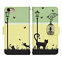 Carine AQUOS R compact SHV41 手帳型 スマホケース スマホカバー di015(C) 猫 cat キャット ストリート アクオス スマートフォン スマートホン 携帯 ケース R コンパクト 手帳 ダイアリー スマフォ カバー