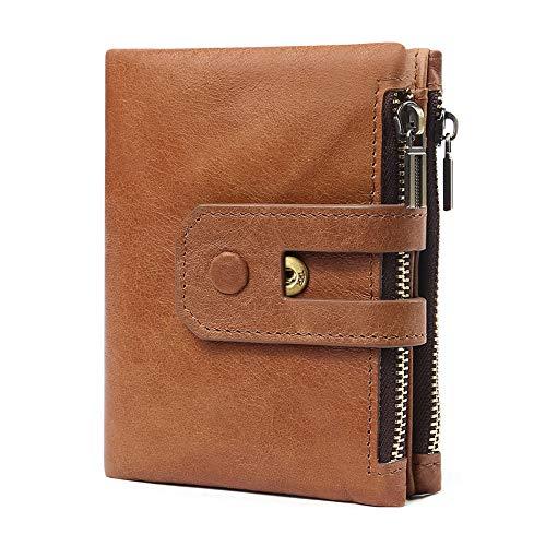 Emostya 財布 メンズ 本革 二つ折り財布 ボタン コンパクト 15枚収納カード 大容量 ファスナー 小銭入れ RFIDブロッキング スキミング防止 ブラウン