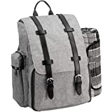 Picnic Backpack   Picnic Basket   Stylish All-in-One Portable Picnic Bag for 4 with Complete Wooden Cutlery Set, Stainless Steel S/P Shakers   Waterproof Fleece Picnic Blanket   Cooler Bag for Campin
