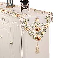 レーステーブルランナー、ドレッサースカーフ長方形テーブルフラグフレンチテーブルマットテレビキャビネットカバー刺繍入り花 (色 : イエロー いえろ゜, サイズ さいず : 40×218cm)