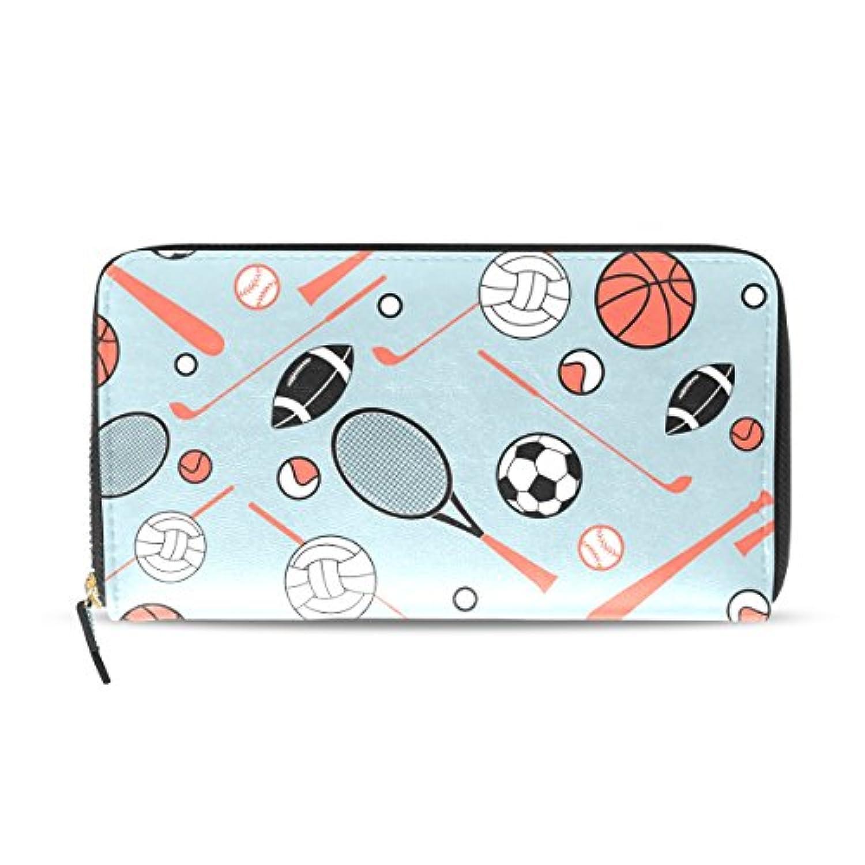 AOMOKI 財布 長財布 ラウンドファスナー 男女兼用 大容量 PUレザー 幅20*丈11cm サッカー バスケット スポーツ