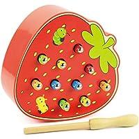 Danni磁気Catchingゲーム木製子供おもちゃ早期教育パズルおもちゃhand-eye Coordinationメモリカラー親子相互作用Catch The Wormゲーム PG001