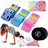 June & Juniper Resistance Booty Bands Set: 3+1 Non-Slip Fabric Exercise Bands for Butt, Leg & Arm Workout. Perfect Gym Home & Travel Hip Bands for Women. Exercise Program and Carry Bag Included.