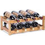 Wine Rack, Fostersource Natural Bamboo Storage Rack Freestanding Countertop Stackable Display Shelf Wine Bottle Holder (2-Tie