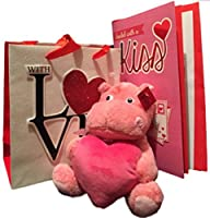 Valentine's Day Hippo Gift Set Bundle Includes: Stuffed Animal Large Valentine's Day Card Gift Bag and Tissue - Perfect for Mom Wife Sister Girlfriend (Hippo) [並行輸入品]