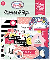 Echo Park Paper Company MOM165025 I am Mom Frames & Tags Ephemera, Pink, Green, red, Navy, Blue, Teal, Black