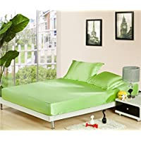 Zhiyuanソリッドカラーシルクサテンベッドフィットシーツ枕カバー2枚セット クイーン CL170077C