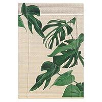 竹ローラーブラインド 和風のローラーウィンドウシェード、ウィンドウブラインドサンシェードカーテンを巻き上げた竹 - バランスでグリーンリーフ竹のカーテンを印刷 (サイズ さいず : 85x120cm)