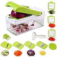(Green) - Onion Chopper, Vegetable Chopper Dicer Slicer Cutter Grater with Seven Interchangeable Stainless Blades Julienne Slicer Crisper Food Container Peeler Slicer For Kitchen Fruit and Vegetable Cutter