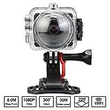 Flylinktech 360°カメラ アクションスポーツ WIFI 防犯カメラ フルHD 1080P 防水