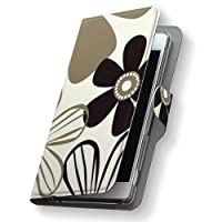 Xperia Z5 SOV32 ケース カバー 手帳型 スマコレ レザー 手帳タイプ 革 SOV32 スマホケース スマホカバー Xperia Z5 エクスペリア フラワー 000690 Sony ソニー au エーユー 花 モノトーン sov32-000690-nb