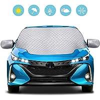 QcoQceカーフロントカバー 車サンシェード 防水 雪対策 凍結防止カバー日よけ 遮光断熱 四季用 厚手 SUV車/軽自動車に適用