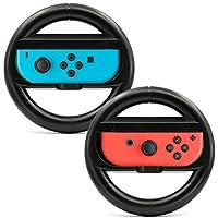 AVIDET ニンテンドースイッチ joy-Con ハンドル レースゲーム専用ハンドル マリオカート 8専用ハンドル (2個セット ブラック)
