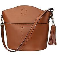S-ZONE Women's Small Cowhide Genuine Leather Purse Handbag Tassel Crossbody Shoulder Bag