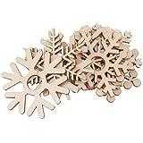 【ノーブランド品】クリスマス用 木製 ツリー デコレーション オーナメント 雪の結晶型 詰め合わせ アクセサリー 装飾 5.1cm 10個