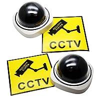 CrossRoad ドーム型 ダミー カメラ 2個セット LED点滅機能あり セキュリティ ステッカー2枚付き (ホワイト)