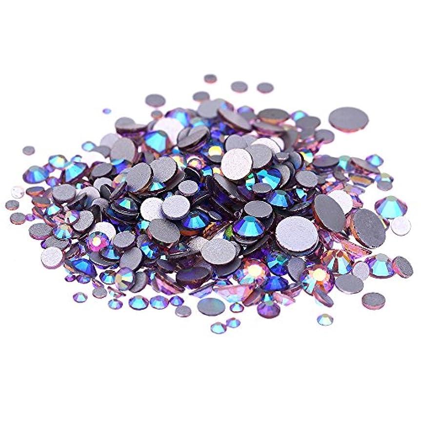 豊かにする太鼓腹自己尊重Nizi ジュエリー ブランド ライトアメジストオーロラ ラインストーン は ガラスの材質 ネイル使用 型番ss3-ss30 (混合サイズ 1000pcs)