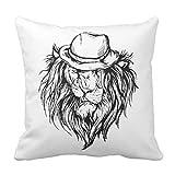 (板橋商店)抱き枕バー 45x45cm クッションカバー プリント 帽子、ライオンの尾のライオンデザイン
