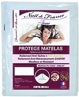 Nuit de France 329395マットレスプロテクターコットンホワイト、ホワイト、140 x 200 cm