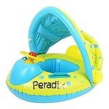 Peradix ベビー浮き輪 足入れ ベビーフロート 水遊び 屋根付き 日よけ ハンドル付き 補修用パッチ付き 対象年齢6~18ヶ月(グリーン)