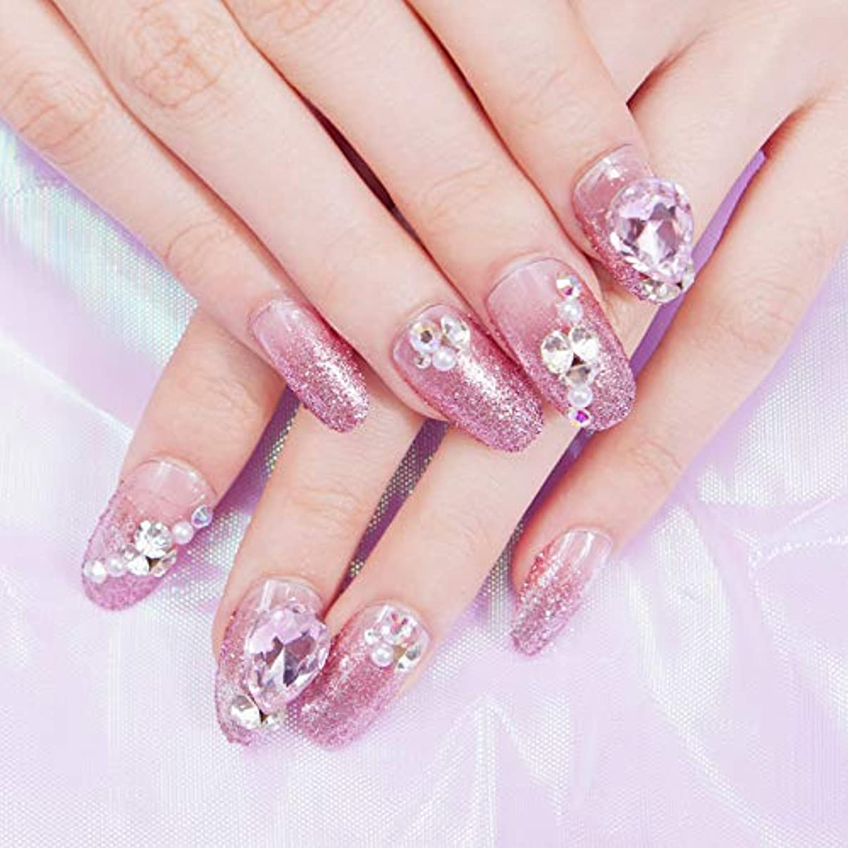 コンバーチブル一流描くピンク ジェルネイルネイルチップ 貼るだけ簡単付け爪24枚入り高品質 ins 人気の ネイルチップ パープルピンク