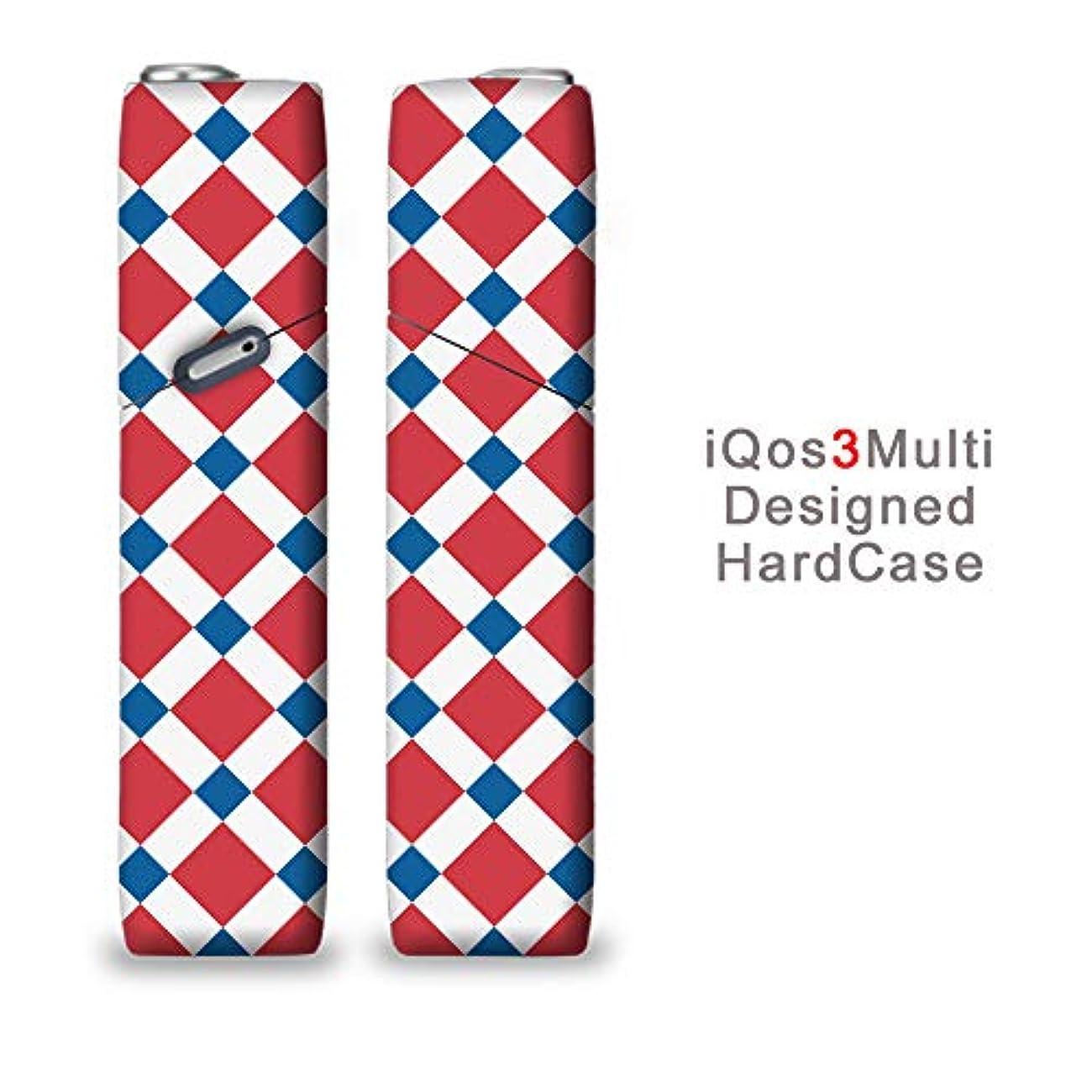 完全国内受注生産 iQOS3マルチ用 アイコス3マルチ用 熱転写全面印刷 きれいなチェック柄 加熱式タバコ 電子タバコ 禁煙サポート アクセサリー プラスティックケース ハードケース 日本製