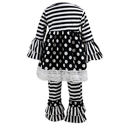 Wennikids Children Kids 2 Pieces Long Sleeve Ruffle Dress & Pants Outfits Small Black White