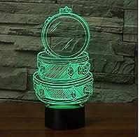 ドラムランプオプティカルイリュージョン3Dナイトライト、7色変更タッチスイッチテーブルデスク装飾ランプ