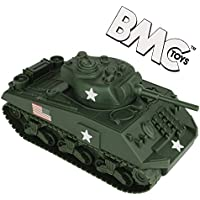 BMC WWII Green Sherman Military 1:32 Scale Toy Tank for 54mm Army Men Soldier Figures