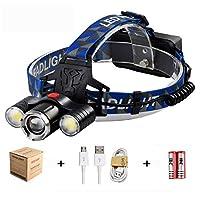AURIVER LED ヘッドライト USB 充電式 4 点灯モード 高輝度 防水 ヘッドランプ 防災 登山 ジョギング 作業用