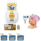 ≪A&D≫約1秒計測 非接触体温計 赤ちゃん・幼児用 おでこで測る体温計 (UTR701A-JC UTR701A-JC1 UTR701A-JC2) (UTR701A-JC1(イエロー))