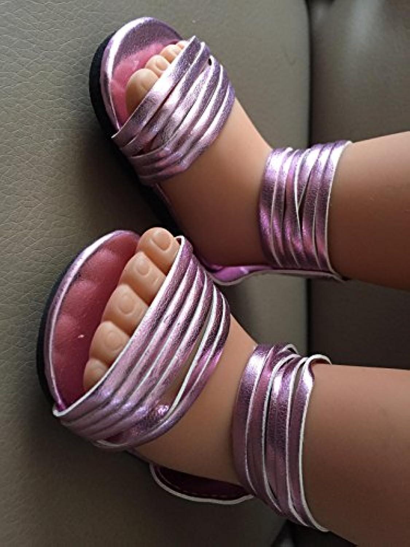 Glitzyメタリックピンク靴のサンダル18