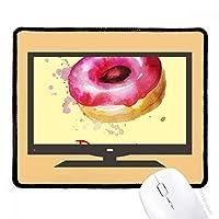 ピンクのドーナツのデザート水彩手塗り マウスパッド・ノンスリップゴムパッドのゲーム事務所