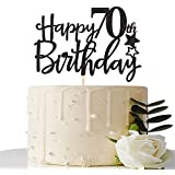 Black Happy 70th Birthday Cake Topper,Hello 70,Cheers to 70 Years,70 & Fabulous Party Decoration