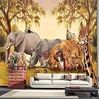 Wuyyii 写真の壁紙カスタム壁紙レトロ大壁画バーカフェKtvの背景の壁紙動物の楽園の壁紙Mural450X300Cm
