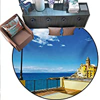 """アイランドラウンドフロアカバー 砂浜 海岸 水中 モルディブの世界 旅行 ダイビング パラダイス フォトドアマット 屋内 バスルームマット 滑り止め (直径55インチ) Multi.jpg 6'6""""/2m"""