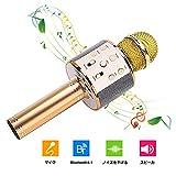 カラオケマイクBluetooth Yihuilan ポータブルスピーカー 多機能 高音質 無線マイク ノイズキャンセリング 音楽再生 家庭カラオケ Android/iPhoneに対応 日本語説明書 (ゴールド)