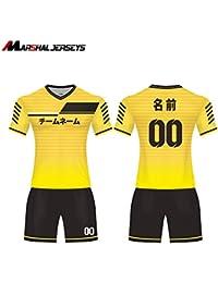 6色ポリエステル 通気性ショット丈 サッカーユニフォーム オーダーメイド上下 スポンサーロゴ、名前、番号無料追加