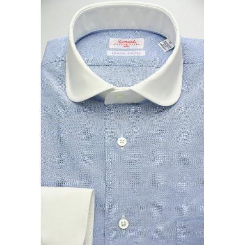 (スキャッティ) Scented ブルー無地のオックスフォード クレリック ラウンドカラー (細身)シャツ rd3344f-M(39-83)