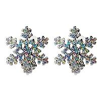 Bling Snowflake Clip on Earrings For Women Girls Christmas Gifts Alloy RareLove [並行輸入品]