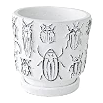 SPICE OF LIFE 植木鉢 レリーフプランター インセクト 昆虫 ホワイト Lサイズ 直径12.5×12.5cm セメント 底穴あり 皿付き CCGH1853