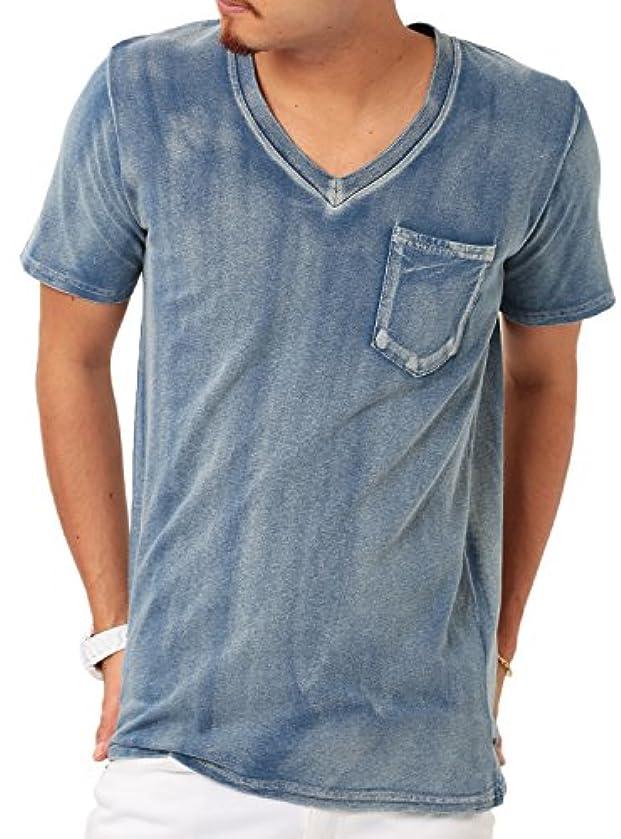 止まる洗う事前にJIGGYS SHOP (ジギーズショップ) インディゴTシャツ メンズ Tシャツ メンズ カットソー メンズ tシャツ メンズ 半袖