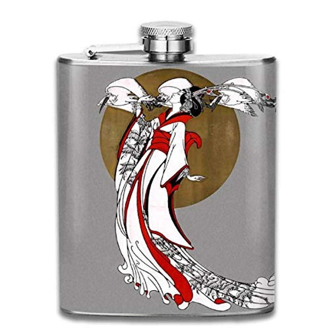レジデンス空中出力ブルームン 酒器 酒瓶 お酒 フラスコ 鶴と女 ボトル 携帯用 フラゴン ワインポット 7oz 200ml ステンレス製 メンズ U型
