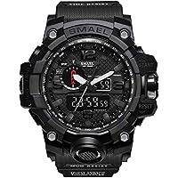 SMAEL Military Watch - Fashion Men's Sports Analog Quartz Watch Dual Display Waterproof Digital Watches LED Backlight Alarm Large Face Electronics Military Watch (Black)